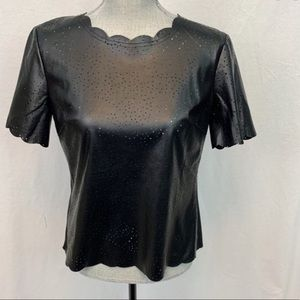Bcbgmaxazria black leather top